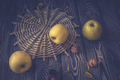 Still-life - apples and walnuts on a gray wooden background. Toned image royalty free stock images