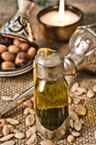 Still life of argan oil with fruits Stock Photo
