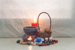 Still life aroma set and Egg in rattan basket Royalty Free Stock Image
