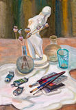 Still life with art accessories. And a flask with dry flowers Stock Image