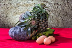 Still life art photography on banana pumpkin egg and pineapple Stock Images
