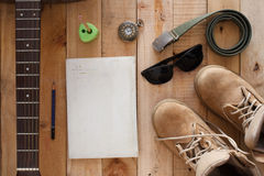 Still life art photography concept with boots ,notebook old watc Royalty Free Stock Photo