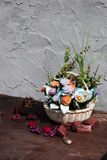 Still life with artificial flowers Stock Images