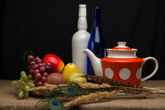 Still life with artificial fruit Stock Photos