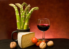 Still Life With Asparagus, Cheese And Wine royalty free stock image