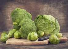 Still life with assortment cabbages Stock Images