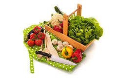 Still life with assortment vegetables and knife Stock Images