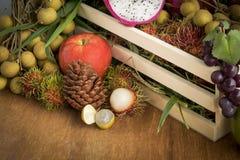 Still life  Autum fruit basket Stock Photos