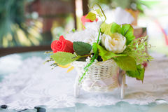Still life with autumn flowers and rose Royalty Free Stock Photo