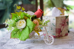 Still life with autumn flowers and rose on table Royalty Free Stock Images