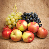 Still life with autumn fruits on burlap Royalty Free Stock Image