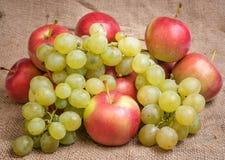 Still life with autumn fruits on burlap Royalty Free Stock Photos