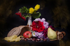 Still life with autumn fruits and flowers Royalty Free Stock Images