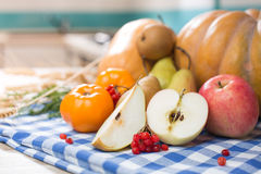 Still life with autumn fruits and pumpkin Royalty Free Stock Photos