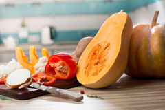 Still life with autumn fruits and pumpkin Stock Photography