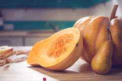 Still life with autumn fruits and pumpkin Stock Photos