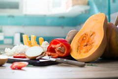 Still life with autumn fruits and pumpkin Royalty Free Stock Photography