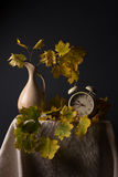 Still life with autumn leaves and an alarm clock Stock Photos