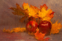 Still life with autumn leaves and apples Royalty Free Stock Photos