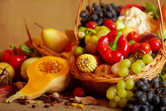 Still life with autumn vegetables and fruits Royalty Free Stock Photo