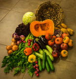 Still life with autumn vegetables and fruits Stock Photos