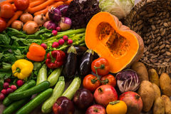 Still life with autumn vegetables and fruits Royalty Free Stock Photos