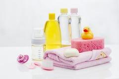 Baby hygiene essentials still life stock photo