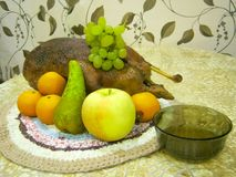 Still life with duck, fruit and a plate with sauce. royalty free stock images