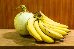 Still Life of Banana And Cantaloupe Royalty Free Stock Images