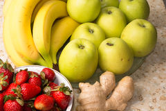 Still life of bananas, apples, strawberries. Stock Photography