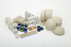 Still Life of bandages and medical supplies. Royalty Free Stock Photography