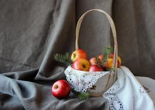 Still life with a basket of apples stock photos