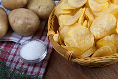 Still life from a basket with potato chips Royalty Free Stock Image