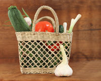 Still life with basket of vegetables Royalty Free Stock Photo