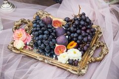 Still Life: Basket With Grapes, Figs And Plums Royalty Free Stock Photo