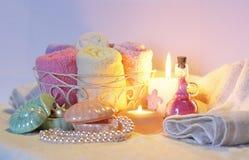 Still life of bathroom accessories, utensils and necessities Stock Photos