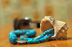 Still life with beads and seashell. royalty free stock photo
