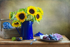 Still life with beautiful sunflower bouquet Stock Photo