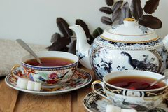 Still life with a beautiful tea service Stock Images