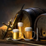 The still life with beer. S and barrel Royalty Free Stock Photos