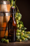 Still life with beer bottle. Hops and wooden barrel in background Royalty Free Stock Photo