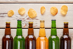 Still life from beer and chips. Stock Photo