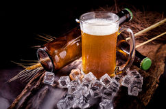 Still Life with of beer and draft beer with ice  by the glass.  Stock Photography