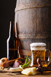 Still life with beer and food Royalty Free Stock Images
