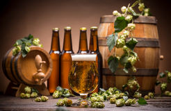 Still life with beer. Fresh hops and barrels Stock Photo