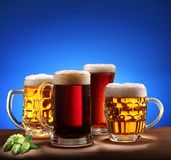 Still-life with beer glasses. Royalty Free Stock Photography