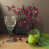 Still life with bird cage and pears. On wooden table Stock Photo
