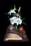 Still life on black background. Still life with items for tea ceremony Royalty Free Stock Photography