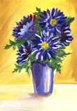 Still life with a blue asters on a yellow background. Hand painted on a paper illustration. royalty free illustration