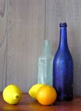 Still life with blue bottle Royalty Free Stock Photo